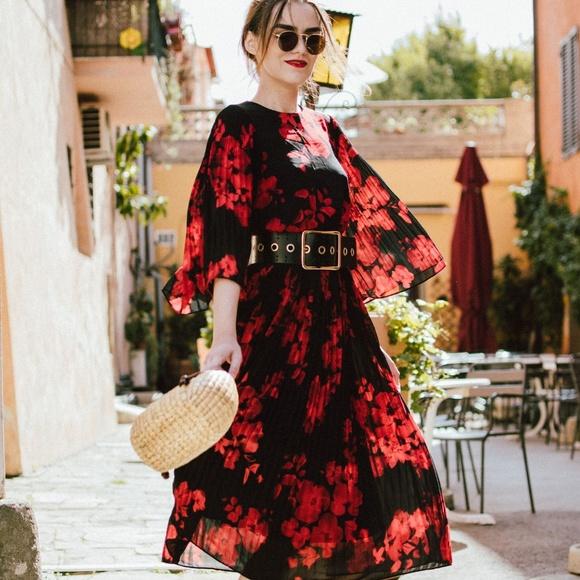 4e0b8549c3a7 H&M Dresses | Hm Black And Red Floral Pleat Midi Dress | Poshmark